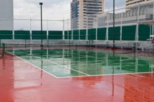 Wet Tennis Court after rain